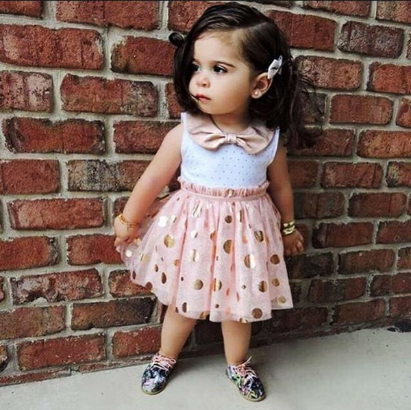 Summer Toddler Kids Girls clothes Polka Dot turn-down collar sleeveless cotton casual Baby Tulle Party Mini Dresses one pieces