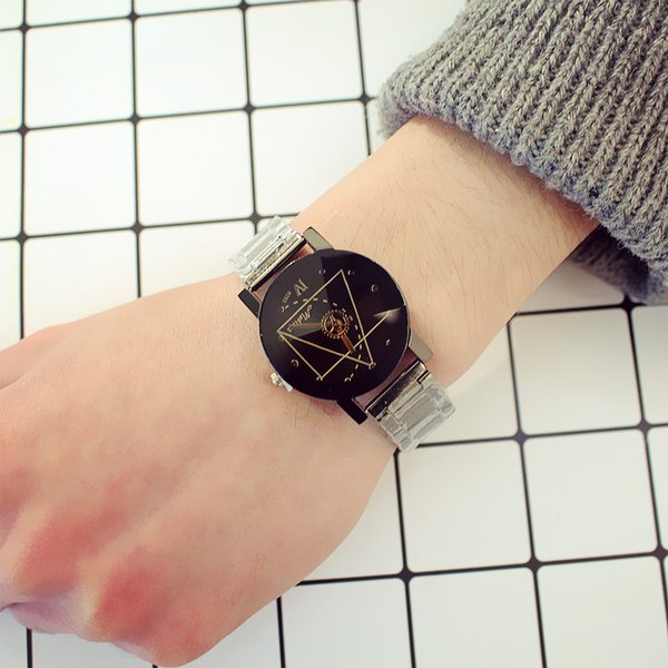 Hot style authentic Korean steel band lovers watch compass dial pointer men and women watch British creative personality fashion table