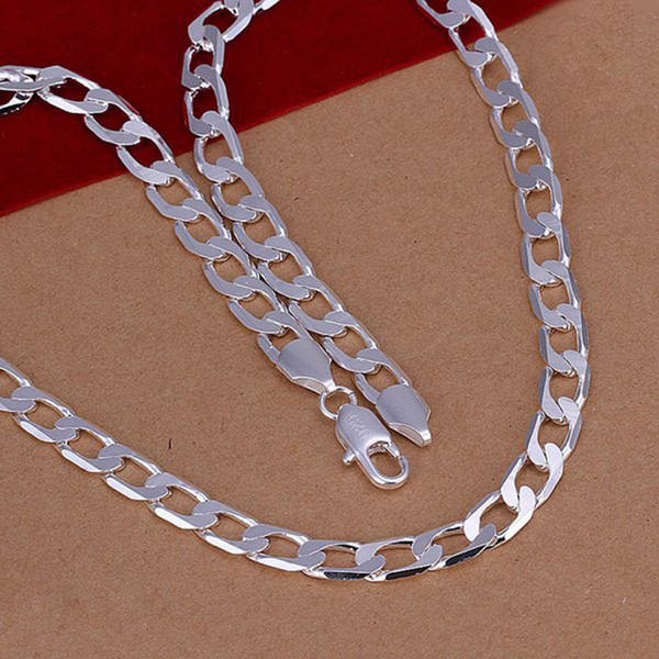 """Fine 925 Sterling Silver Necklace,XMAS New 925 Silver 8MM 16inch 18""""-24Inch Curb Chain Necklace For Women Men Fashion Jewelry Link Italy"""