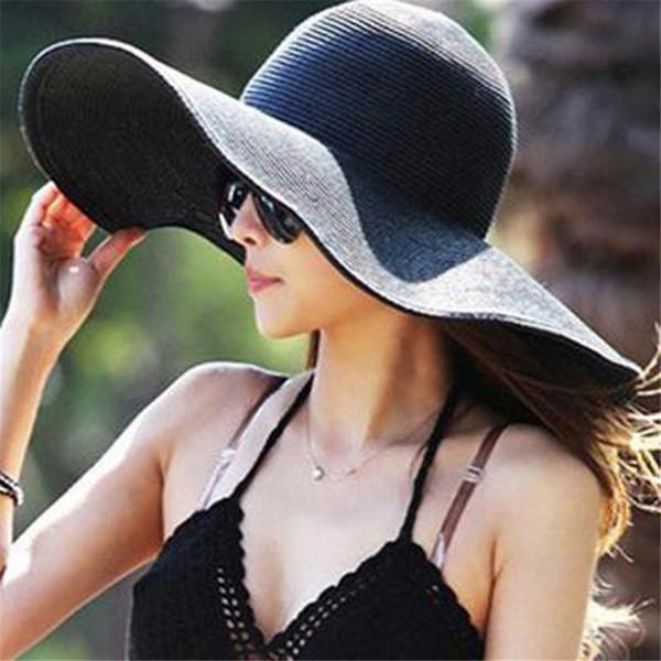 Floppy Sun Hat Women Straw Hat Solid Color Big Brim Straw Sun Brim Foldable Hats Summer Beach Cap Fashion New 0328