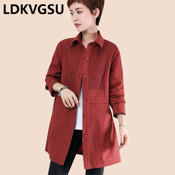 middle-aged ladies trench coat 2019 spring autumn new large size solid long-sleeved lapel single breasted windbreaker is1704 - from $93.57
