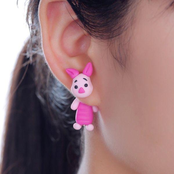 TTPAIAI 30 Marque main Boucles d'oreilles en pâte polymère Fashion Pink Pig Stud Boucles d'oreilles pour les femmes filles Cartoon animaux Jewellry 3D