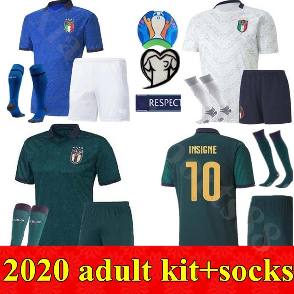 top popular 2020 European Cup Adult kits Men Italy Soccer Jerseys 20 21 Home away 3rd buffon PIRLO ZAZA De Rossi Bonucci Verratti football shirt 2020