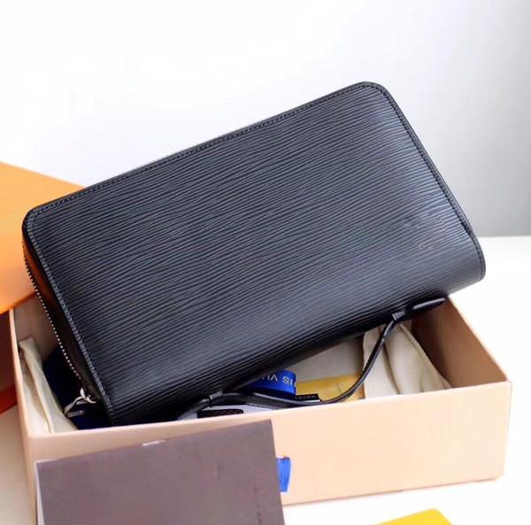 concepteur de sac d'embrayage ZIPPY style classique de qualité pour hommes et femmes en cuir véritable détenteurs de cartes d'affaires à long portefeuille avec boîte 23x15x 4cm L12