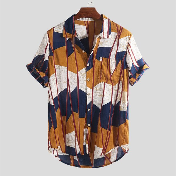 Streetwear Camisas New Club Men Luxury Elegant Camisa Multi Color Hawaii Lump Chest Pocket Manga corta dobladillo redondo Loose Casual Blusa camiseta