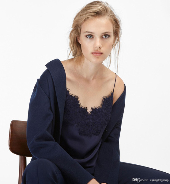Spaghetti Strap V Neckline Solid Color Spring Summer Camisole Real Silk & Lace Camisole Tanks & Camis