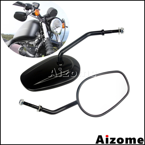 black motorcycle oval mirrors for softail dyna sportster iron 883 xl883 xl1200 custom rearview mirrors side mirror