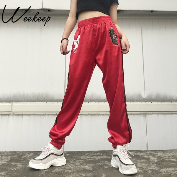 Weekeep Moda Devil Impressão Alta Mulheres Cintura Elástica Lápis Lápis de Cetim Listras Streetwear Calças Sweatpants Q190420