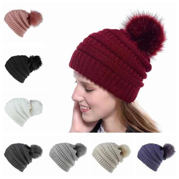 Kadın Örme Beanie Şapka Moda Kış Sıcak Yumuşak Kürk Topu Şapka bayanlar Kafatası Katı Tığ Kayak Kap Açık Parti Şapka TTA1636