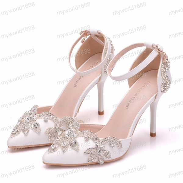 c43874620a Rhinestone Thin Heels Sandals Shoes Women Sweet Luxury Platform Wedge Shoes  Wedding High Heels Pumps For Party 9CM Boots Shoes White Mountain Shoes ...