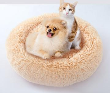 top popular Round Shape Dog Kennel Cat Bed Winter Warm Plush Pet House Candy Color Puppy Teddy Soft Nest 2020