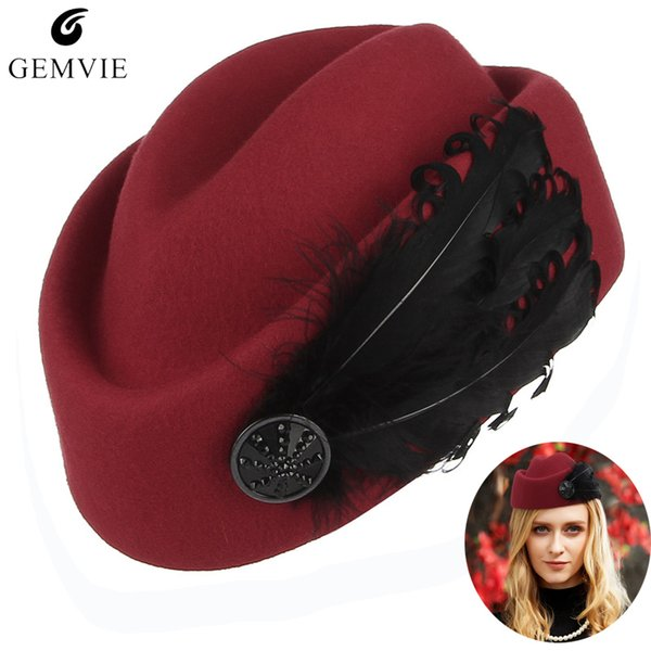 Elegant Lady Berets Airline Stewardess Cap Women 100% Wool Solid Color Adjustable Beret Caps With Feather Formal Occasion Hats