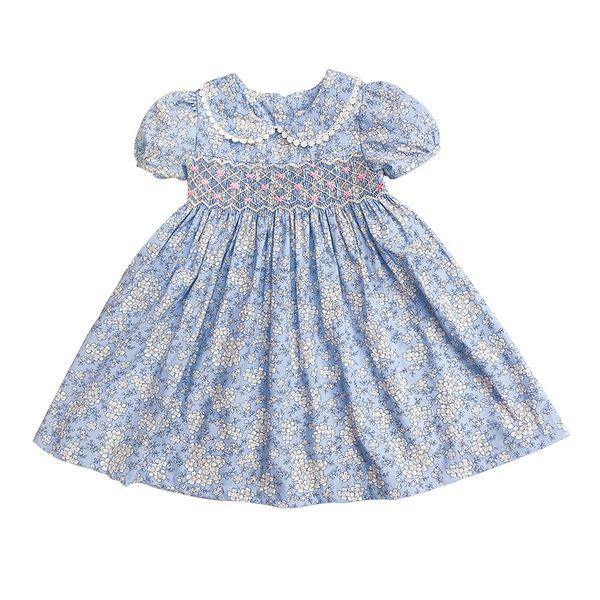 Little Girls Dresses Summer 2019 Kids Girl Smocked Dresses For Party Wedding Elegant Smocking Floral Dresses For Girls Sukienki J190618
