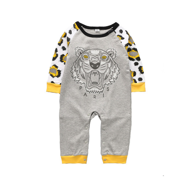 best selling Kids Clothes Cute Jumpsuits Tiger Head Letter Calf And Monster Print Simple Long Sleeve Round Neck