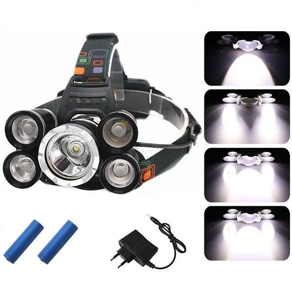 5 LEDs Super Bright LED Headlamp 20000 Lumens LED Headlight 4 switch modes fishing lamp Waterproof headlight +Batteries + AC Charger
