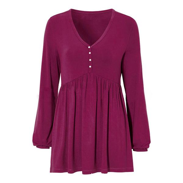Sexy V-neck Korean Style Women T-shirt Long Lantern Sleeve Loose Casual Autumn Spring Solid Top Tee Shirt Blusas Plus Size6Q2247