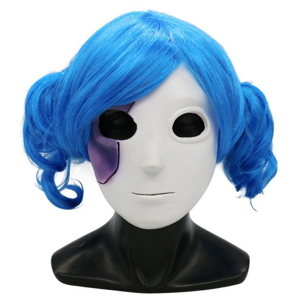 Sally visage latex naturel Masque femmes filles cosplay Thème Halloween cosplay accessoires bleu perruque ondulée avec perruque Cap