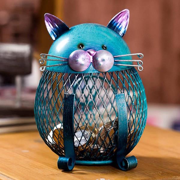 Caja de dinero de ahorro Piggy Bank Animal Gato Figurilla Caja de dinero Centavo de metal Cajas de monedas Decoración del hogar Artesanía Regalo de Navidad para niños