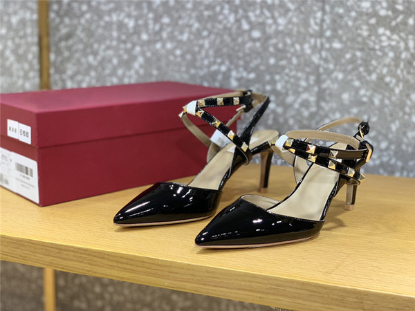 Fashion strip high-heeled Stitching head Pointed toe shoes women wedding party high heel shoes 5cm heel