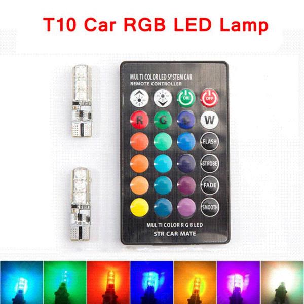 2 peças RGB T10 W5W Led Luzes de Apagamento Do Carro SMD RGB T10 LEVOU 194 168 Lâmpada Remoto Largura Interior Fonte de Iluminação T10