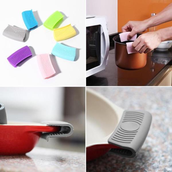 Cozinha Silicone Isolamento Térmico Luva Luva Casserole Ear Pan Holder Resistente Braçadeira Placa Clipe Para Taça Forno Aperto Dedo Luvas
