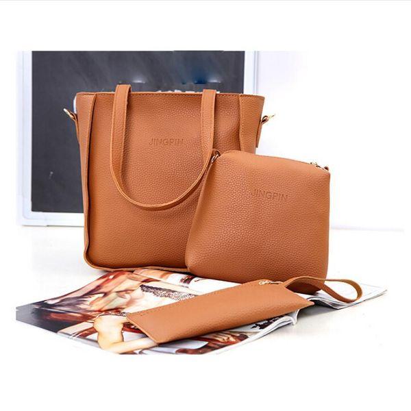 Women Bag Three Sets Large Capacity Shoulder Bag High Quality Pu Leather Messenger Mobile Handbags Zipper Coin Money Bags