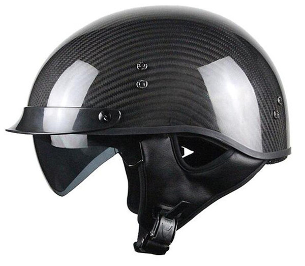 best selling Voss 888CF Genuine Carbon Fiber DOT Half Helmet with Drop Down Sun Lens and Metal Quick Release - S - Gloss Carbon