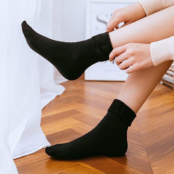 2019 Più nuovo autunno inverno adulto caldo tubo calzini da neve ispessimento di velluto moda donna calzini da pavimento tinta unita calza traspirante M341F