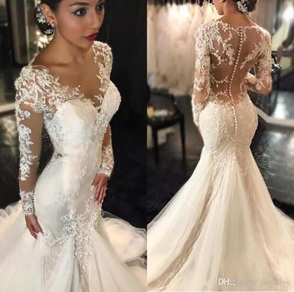 2020 vestidos de boda de Bohemia cuello de la joya apliques de encaje de cuentas sirena vestido de novia de barrido tren vestidos nupciales Robe de mariée