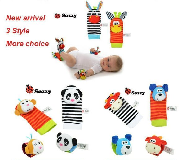 400pcs New arrival sozzy Wrist rattle & foot finder Baby toys Baby Rattle Socks Lamaze Baby Rattle Socks and wristbands b1224