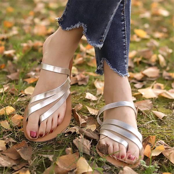 Sandalet Kadın Ayakkabı Moda Düz Sandalet Yaz Terlik Kadın Plaj 2019 Sandalias Çevirme Zapatos De Mujer 35-43
