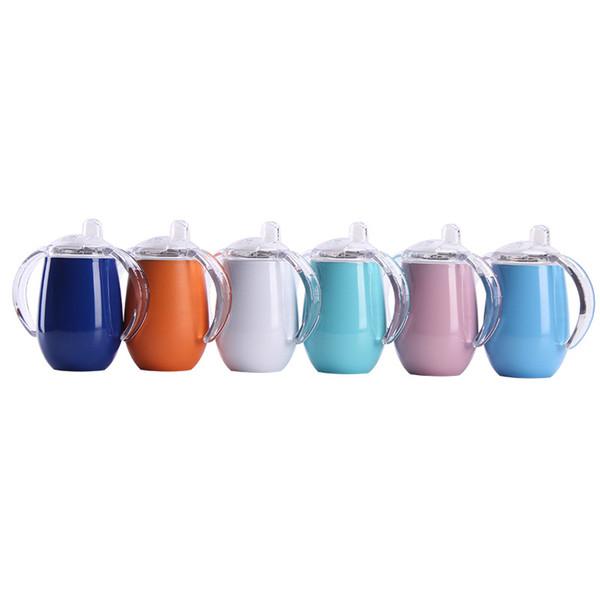 8 OZ Bebê Sippy Chupeta Copo Em Forma De Ovo Canecas Em Aço Inoxidável Safe Thermos BPA Garrafas Tumbler Leite Isolado Xícaras De Bebê Com Alça