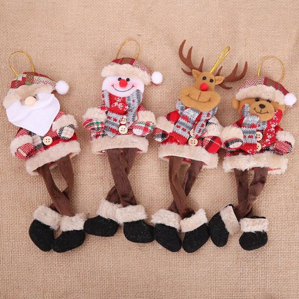Christmas Ornaments Cute Santa Claus Snowman Reindeer Xmas Tree Hanging Decorations Door Wall Pendant Plush Doll Children Toy