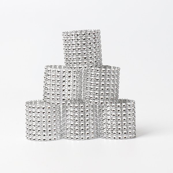8 rows Rhineston napkin rings plastic napkin buckle charm Mesh Wrap Napkin Ring Serviette Holder hotel wedding table decor 50lots AAA1845