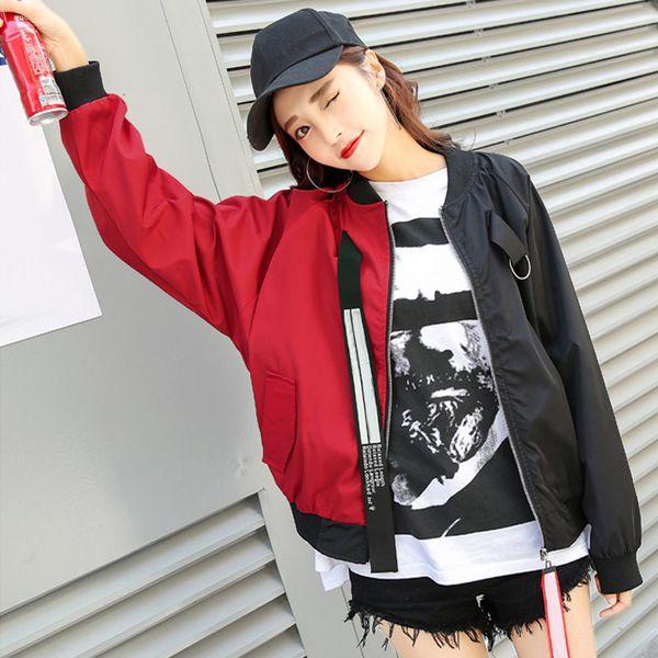Fashion Autumn Color Pasted Girl BF Baseball Uniform Jacket Sport Personality Stitching Coat -OPK