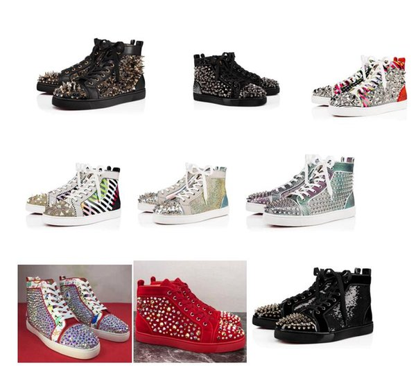 Nuevo 2019 Spikes High Top Sneakers Flat Perfect Studded Party Party Red Bottom Luxury Men al aire libre Casual Pisos PIK PIK Studs