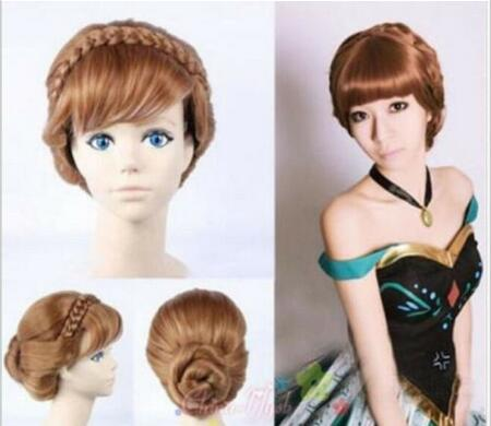 free shipping Charming new beautiful Hot Quality sell New Adult Children Frozen Anna Coronation Brown Wig Braid Full Cosplay Wigs