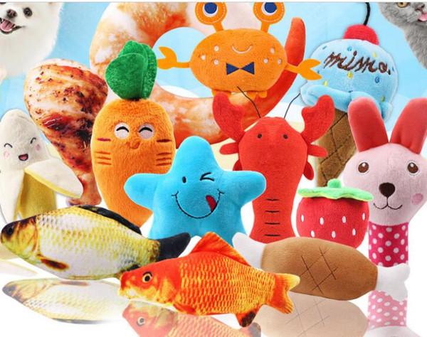 Tal Hund Hund Plüsch Stimmspielzeug Vielzahl von Obst Cartoon Tier Haustier Katze liefert Spielzeug Heimtierbedarf