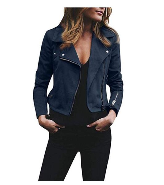 Nouvelle arrivée automne hiver nouvelle mode femme manteau revers costume col PU veste en cuir Slant Zipper et haut court femmes