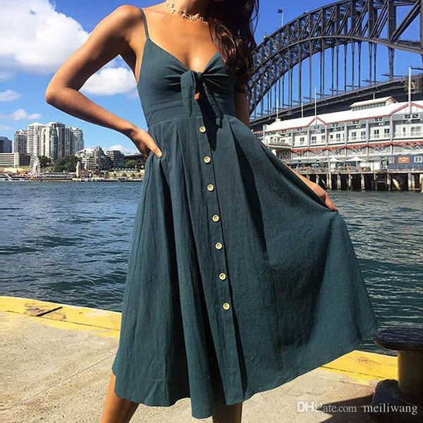 Sexy Bow Backless Polka Dots Print Beach Summer Dress Women Cotton Deep V Neck Buttons Red White Off Shoulder Midi Dresses