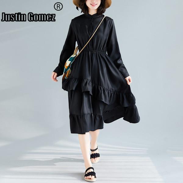 Loose Solid Ruffles Wear To Work Black Dress Summer Style Women Casual Dress Button Highstreet Modern Supernatural Sexy Dress SH190829