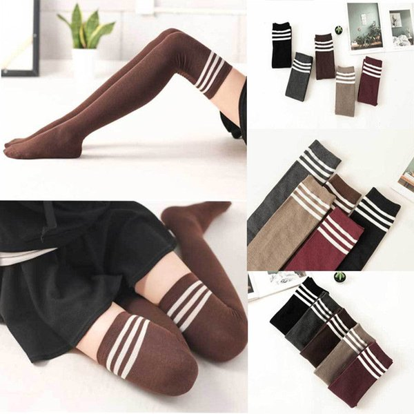 Women Girls Over the Knee High Stocking Winter Warm School Sexy Thigh High Long Stockings Legging Warm Cotton Stockings