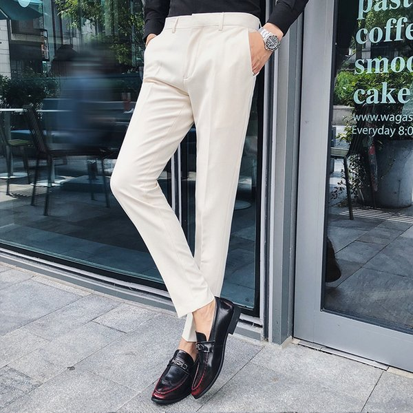 British Style Suit Pants Men Autumn Winter New Slim Fit Casual Men Dress Pants Gentlemen Solid Business Formal Wear Trousers