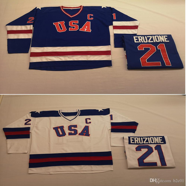 1980 USA 21 Mike Eruzione Weiß Blau Movie Hockey Trikots Herren