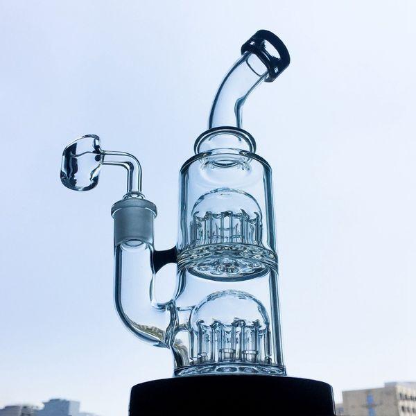 8 pollici mini toro vetro bong 12 braccio doppio albero perc acqua tubi base costante piccolo Dab olio impianti piegati collo cera acqua bong 5mm di spessore yq01