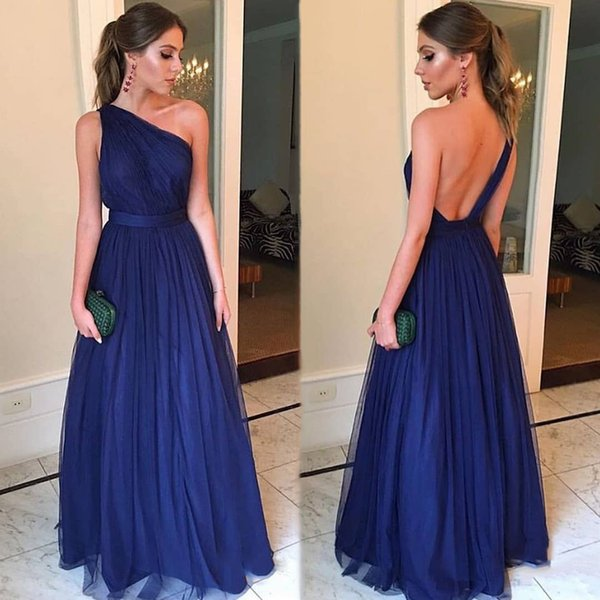 2020 New A Line Royal Blue One Shoulder Bridesmaid Dresses Long Sexy Cheap Wedding Guest Dresses Party Prom Gowns Red Bridesmaids Dresses Romantica