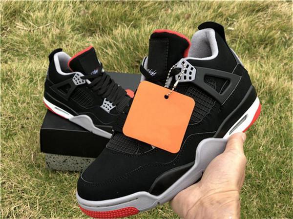 Аутентичные 2019 Air OG 4 Bred Мужчины Баскетбол обувь Черный Цемент Серый Саммит Огненно-красный 308497-060 Спортивная обувь Кроссовки 7-13
