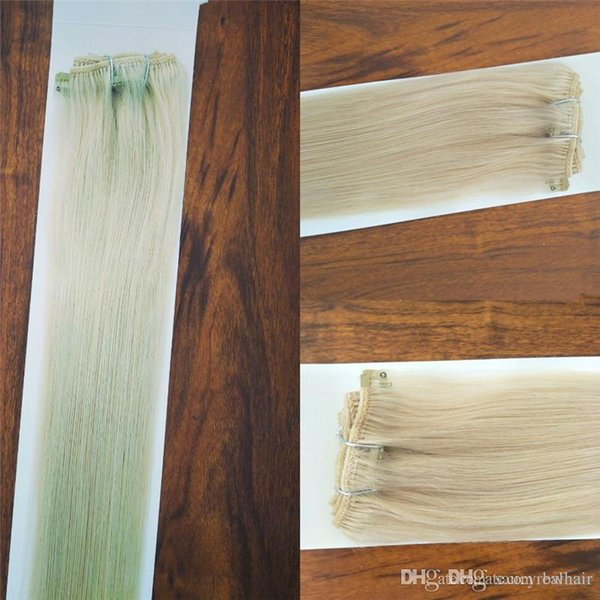 Elibess Brand Silk Straight Brazilian Non-remy Hair Platinum Blonde Color 60# Human Hair Clip In Extensions 70 Gram 12 to 24 inche, Free DHL