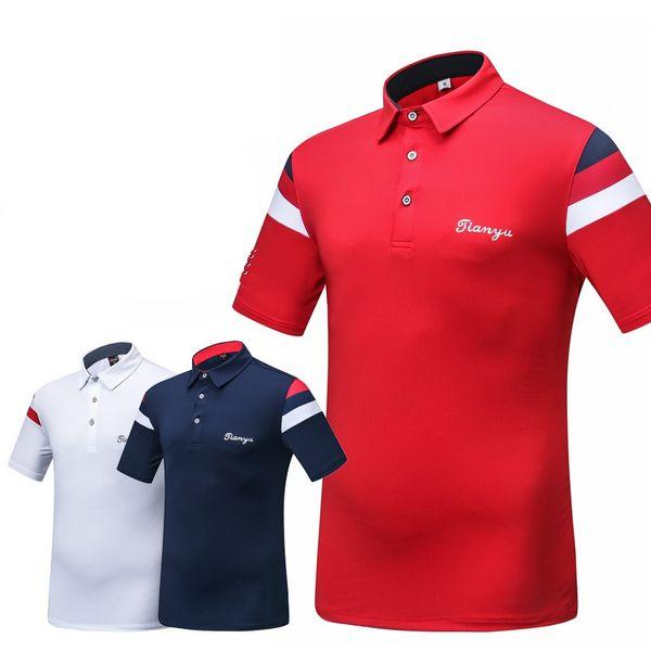 Yüksek Kaliteli Golf Gömlek Erkekler Spor Eğitim Gömlek Turn-Aşağı Yaka Jersey Anti Ter Ter Nefes Iyi Elastik Yaz D0658