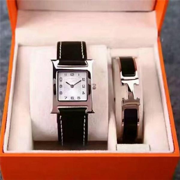 Nuevo 2 Sets Vestido de Las Mujeres Reloj Pulsera Marca de Lujo Superior Relojes Para dama Mujer niña Regalo Oro Herm Reloj de pulsera Reloj Relogio Feminino